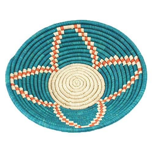 Fabulous Fruit Basket (Fabulous Teal Floral Blossom Raffia Fruit or Display Basket Natural and Orange Accent)