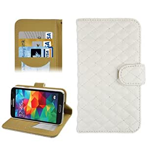 Grid Texture Horizontal Flip Leather Case with Credit Card Slots & Holder for Galaxy S5 / i9600 (White)