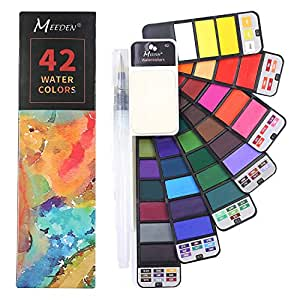MEEDEN Artist Foldable Watercolour Paint Set with Water Brush for Field Sketch Outdoor Painting, 42 Colours