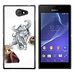 Impact Case Cover with Art Pattern Designs FOR Sony Xperia M2 cool draw sketch bull Taurus fierce fight matador Betty shop