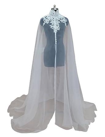 Dobelove Womens Elegant Very Long Wedding Bridal Clock Wrap Cape (OneSize, ...