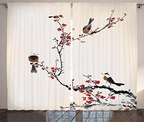 """Ambesonne Nature Curtains, Birds on Cherry Tree Branches Summer Classic Oriental Illustration, Living Room Bedroom Window Drapes 2 Panel Set, 108"""" X 108"""", Ruby Caramel"""