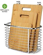 Homever Tabla de Cortar, Juego de Tablas de Cortar de bambú de 3 Piezas Plus Cesta Colgante - Tablas de Cortar orgánicas antibacterianas con un Soporte de Acero Inoxidable para