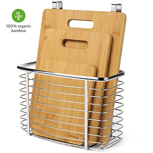 Cutting Board, Homever 3-Piece Bamboo Cutting Board Set PLUS Hanging Basket - Anti-bacterial Organic Chopping Boards with A Stainless Steel Storage Wire Basket Holder