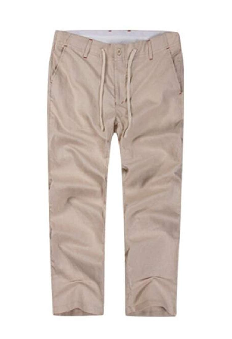 Cromoncent Mens Comfort Big /& Tall Drawstring Ankle Length Solid Pants