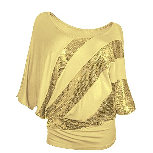 Plus Accessory Outfit - Fullfun Women Sequin Summer T-Shirt Blouse Plus Size (S, Yellow)