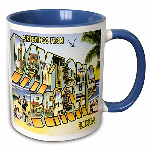 - 3dRose BLN Vintage US Cities and States Postcard Designs - Greetings From Daytona Beach, Florida Bold Lettering with City Scenes - 15oz Two-Tone Blue Mug (mug_169572_11)