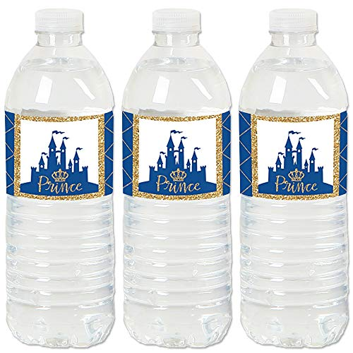 Royal Prince Charming - Baby Shower or Birthday Party Water Bottle Sticker Labels - Set of 20 -
