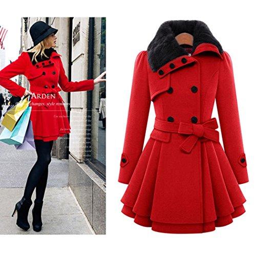 Slim mioim Grande Manteau Chic Hiver Blouson Chaude Taille Femme Chaud Mode Veste Rouge Laine Femme Hiver en Casual YpAYZq