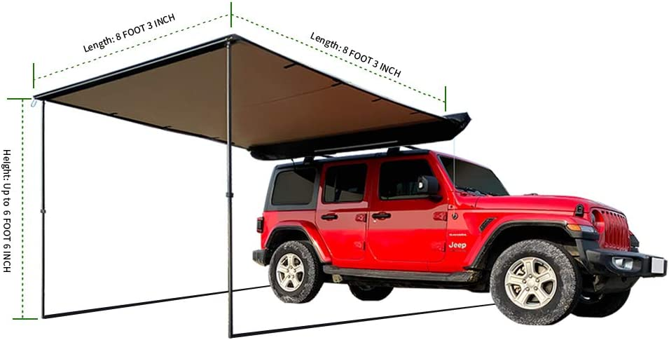 30oz Vinyl Case UV leaveshade Car Awning Heavy Duty Retractable SUV Rooftop Side Tent ● 2500x3000 mm 83x910 ● Innovated Premium Material/&Accessories ● Waterproof