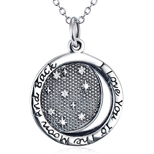 S925 Sterling Silver ''I Love You to the moon and back'' Stars in Night Pendant Necklace 18''