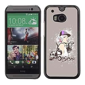 PC/Aluminum Funda Carcasa protectora para HTC One M8 Poison Quote Swag Skull Style Blonde Woman / JUSTGO PHONE PROTECTOR