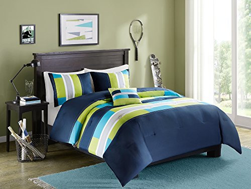 Comfort Spaces Pierre 4 Piece Comforter Set All Season Ultra Soft Hypoallergenic Microfiber Pipeline Stripe Boys Dormitory Bedding, Full/Queen, Navy Blue