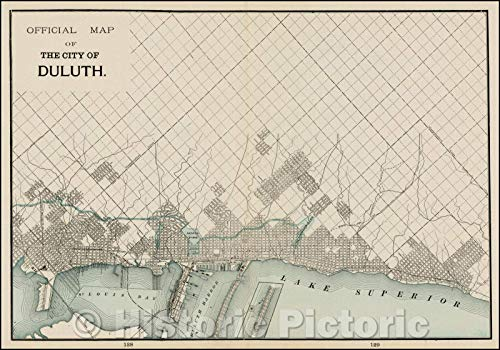 Historic Map | Duluth, 1892, George F. Cram | Vintage Wall Art 24in x 16in Cram 1892 Antique Map