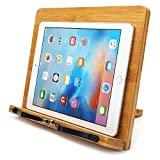 Bamboo Book Stand,WishAcc Adjustable Book Holder Tray and Page Paper Clips-Cookbook Reading Desk Portable Sturdy Lightweight Bookstand-Textbooks Bookstands-Music Books Tablet Cook Recipe Stands