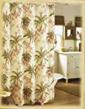 Tommy Bahama Home Bonny Cove Fabric Shower Curtain Tropical Palm Trees & Flowers on Ivory