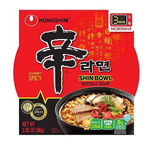 Korean Noodle Soup - NongShim Shin Bowl Noodle Soup, Gourmet Spicy, 3.03 Ounce (Pack of 12)