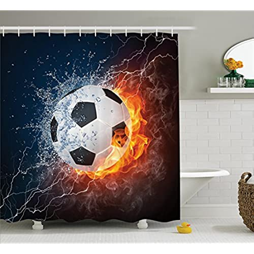 Ambesonne Sports Decor Collection, Soccer Ball On Fire And Water Flame  Splashing Thunder Lightning Abstract Image, Polyester Fabric Bathroom  Shower Curtain, ...