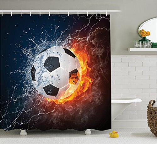 Ambesonne Sports Decor Collection, Soccer Ball on Fire and Water Flame Splashing Thunder Lightning Abstract Image, Polyester Fabric Bathroom Shower Curtain, 75 Inches Long, Orange Navy White