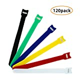 #10: Pack of 120, Microfiber Cloth 6-Inch Cable Straps Hook and Loop Reusable Fastening Cable Ties, Multicolor