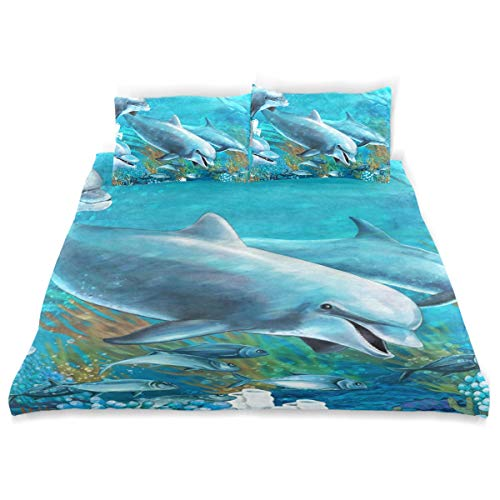 LUPINZ The Underwater Dolphins Twin Size Sheet Quilt Cover Set Wrinkle, Fade, Stain Resistant Kids Duvet Cover Set 3-Piece