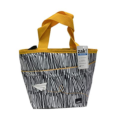(Zak Designs Grid Lock - Insulated Lunch Bag with Zipper Opening, Anti-Microbial Liner, Tote-Shaped Design Brings Fashion to the Lunch Table (Plane, BPA-Free))