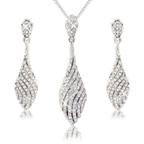 Silver Tone Spiral Drop Elegant Necklace and Earrings Set - White Crystals - Pendant with Fine (Spiral Drop Necklace)