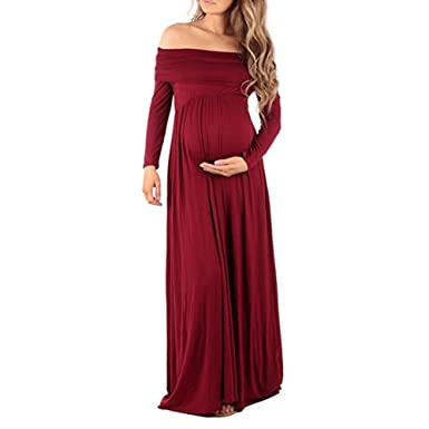 OBEEII Womens Cowl Neck Ruched Maternity Maxi Dress Long Sleeve Off Shoulder Nursing Gown Baby Shower Photography Prop