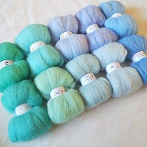 Maslin 10 Colors Wool Fibre Roving Sewing for Needle Felting Doll Needlework Raw Wool Crafts Blue 10g 20g 50g Merino Wool - (Color: 50g 500g)