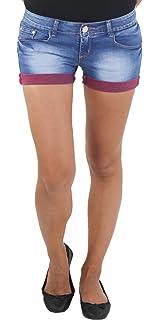 Damen Hotpants Hot Pants Jeans Shorts Kurze Hose Capri Hüft Stretch 2 Farben