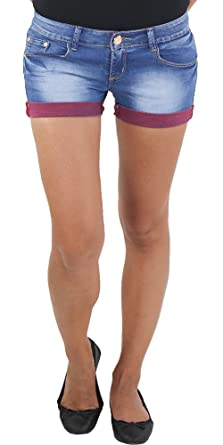 Damen Hot Pants mit Gürtel Hotpants Jeans Shorts Kurze Hose Capri Hüft Stretch