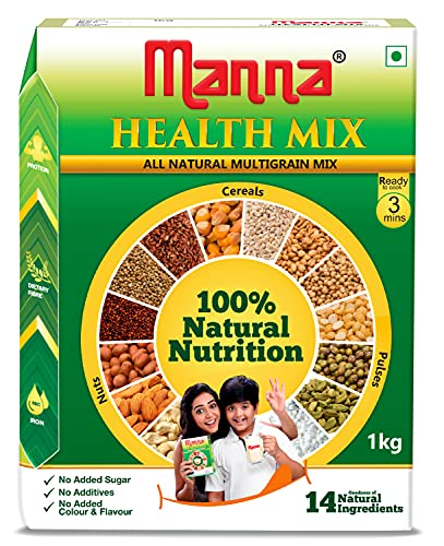 Manna Health Mix - 100% Natural Multigrain Nutrition for Kids, 1kg. No Added Sugar/Colour/Flavour. 14 Natural Ingredients (Nuts, Cereals & Pulses)