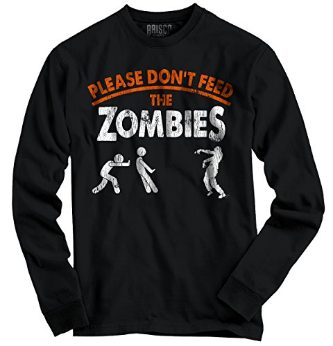 Funny Halloween Long Sleeve T Shirt Please Dont Feed The Zombies Tee Costume (Zombie Dress Up Ideas)