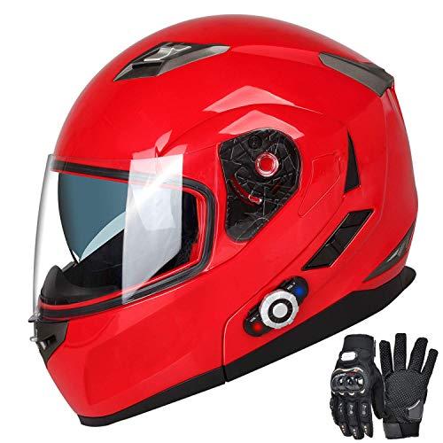 Motorcycle Bluetooth Helmets,FreedConn Flip up Dual Visors Full Face Helmet,Built-in Integrated Intercom Communication System(Range 500M,2-3Riders Pairing,FM radio,Waterproof,L,Red) by FreedConn (Image #10)