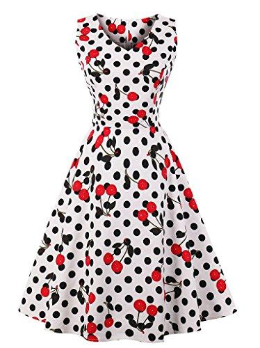Retro Cherries - Ayli Women's Sleeveless V-Neck 50s Retro Midi Dress, Cherry Polka Dot on White, US-18/Tag-3XL/02w157