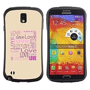 """Hypernova Slim Fit Dual Barniz Protector Caso Case Funda Para Samsung Note 3 [El amor de la tipografía de la caligrafía Mensaje""""]"""