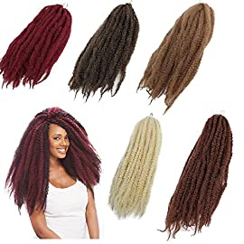 3Packs Afro Kinky Marley Braids Hair Extensions 18″ Synthetic Afro Kinky Twist Crochet Braiding Hair Mixed Color Bulk Twist Crochet Braids 60g/pc Synthetic Hair For Braiding African Twist