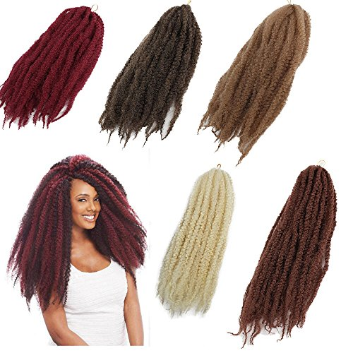 """3Packs Afro Kinky Marley Braids Hair Extensions 18"""" Synthetic Afro Kinky Twist Crochet Braiding Hair Mixed Color Bulk Twist Crochet Braids 60g/pc Synthetic Hair For Braiding African Twist (#30)"""