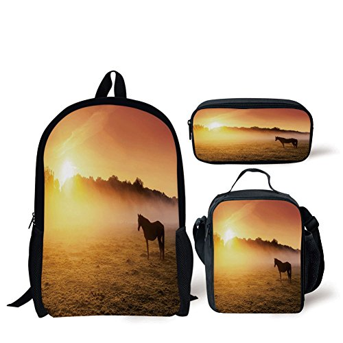 School Lunch Pen Bags,Horse Decor,Arabian Horses Grazing on Pasture at Sundown Dramatic Foggy Scenery Decorative,Coral Yellow Brown,Personalized Print by iPrint