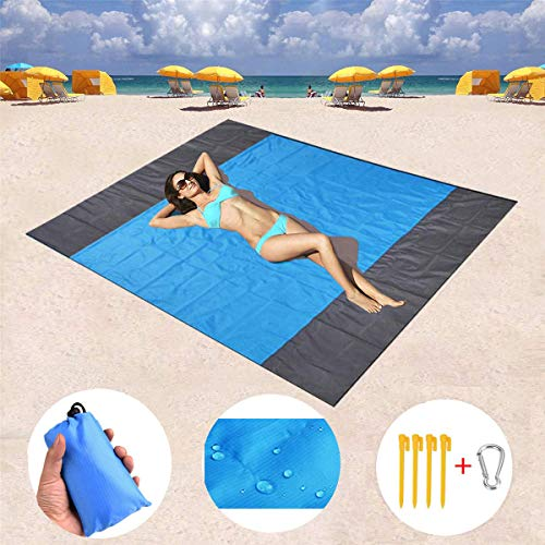 SDUQAN Sandless Beach Blanket,Oversized 82x79 Inches Sand Proof Beach Mat Outdoor Waterproof Picnic Blanket for Traveling, Camping, Hiking and BBQ-Compact Quick Drying Ripstop Nylon