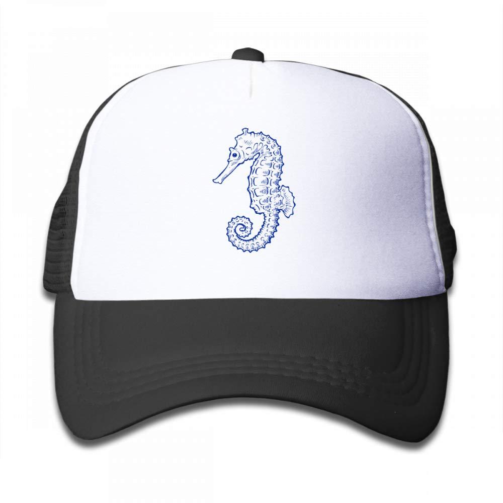 NO4LRM Kid's Boys Girls Hippocampus Youth Mesh Baseball Cap Summer Adjustable Trucker Hat