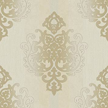 Tapete Rasch Textil Vinyltapete Deha 006425 Barock grau gold ...