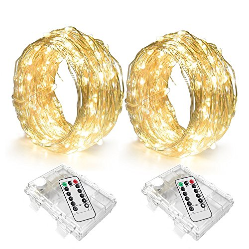 LENPOW 2 Pack Led Starry Fairy String Lights Super Bright Firefly Rope Lamp Twinkle Lantern 16.4ft 50 Led Waterproof 8 Modes Remote Control for Room Wedding Festival Decor Battery Operated Warm White