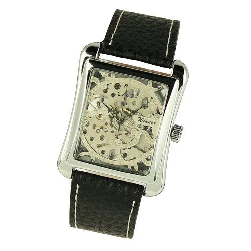 Reloj Mecánico Cuerda Manual Hombre Reloj Plata La Correa Cuero Negro Los Hombres Cuadrados: Amazon.es: Relojes