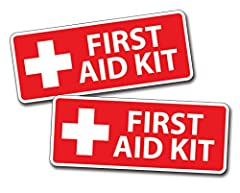 You are getting 2 (TWO) RED First Aid STICKERS for YOUR DIY Emergency kit or Box. This is for TWO stickers ONLY.... NO first aid kit will come with these 2 stickers. They are 2.5 inches tall x 5 inches wide. They are printed on 3M air release...