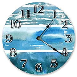 10.5 BLUE WATERCOLOR ABSTRACT CLOCK - Large 10.5 Wall Clock - Home Décor Clock