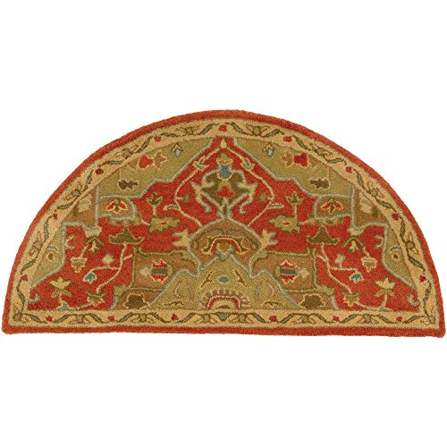 (Rust Orange Blue Hearth Rug Semi Circle, Beige Red Fireplace Rug Floral Pattern Half Moon Circle Mat Oriental Flower Themed Chimney Mat, Semicircle Rug Fire Place Cabin Lodge Cottage 2' x 4', Wool)