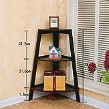 3 Tier Floorstanding Bookcase, Bedroom Living Room Corner Flower Stand, 42 * 42 * 83.5Cm,Save Space,Black