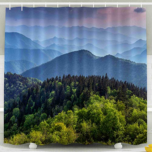 Shorping 78x72 Shower Curtain,Clear Shower Curtain, The ridges of The Great Smokey Mountains Extending Across The Valley on The Blue Ridge Parkway Near Ash Waterproof Decor Bathroom Set with Hooks