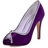 ElegantPark EP11083 Women Pumps Peep Toe Rhinestones Platform High Heel Satin Evening Wedding Dress Shoes